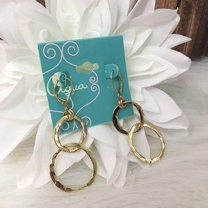 Hammered Hoop Earrings - Aqua Brand